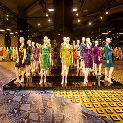 """Designed by Ralph Pucci, the custom mannequins were sculpted from vintage photographs of DVF. Diane tells us that she wanted them to have """"strong bones and a strong nose."""" Additional empowerment is reflected in mannequins' pose, which was meant to mimic t"""
