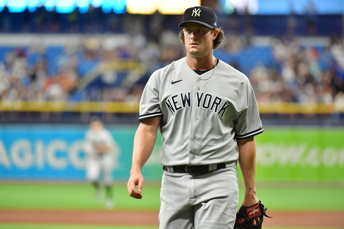 Gerrit Cole of the New York Yankees walks off the field after the second inning against the Tampa Bay Rays at Tropicana Field on July 29, 2021 in St Petersburg, Florida.