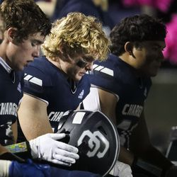 Corner Canyon players appear dejected as a loss to Lone Peak looks imminent at Corner Canyon High School in Draper on Thursday, Oct. 7, 2021.
