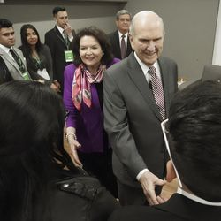 President Russell M. Nelson of The Church of Jesus Christ of Latter-day Saints and his wife Sister Wendy Nelson meet with youth in Bogota, Colombia, on Sunday, Aug. 25, 2019.