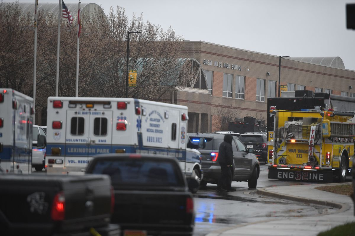 Emergency responders at Great Mills High School in Maryland after a shooting there on March 20.