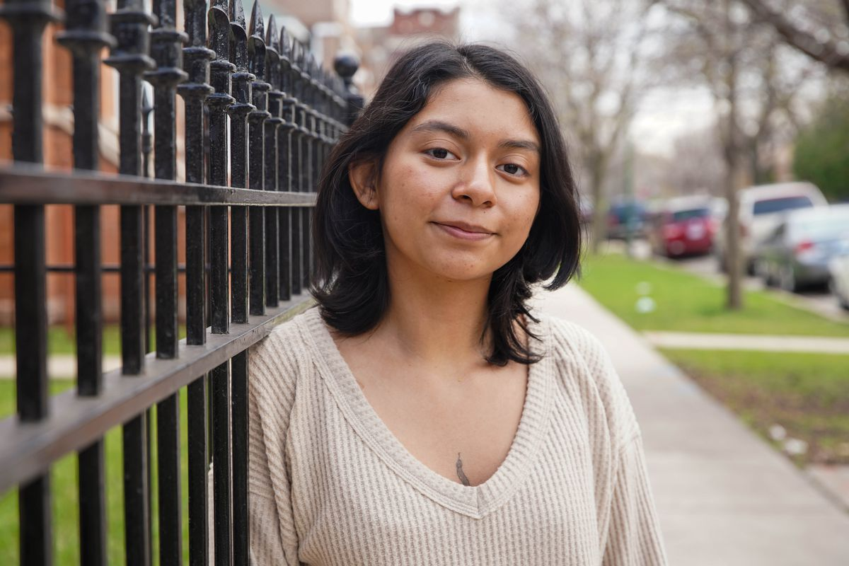 Kiara Balleza, a student at Harold Washington College, on Friday near her home in Marquette Park where she is studying remotely while also interning for a nonprofit organization.