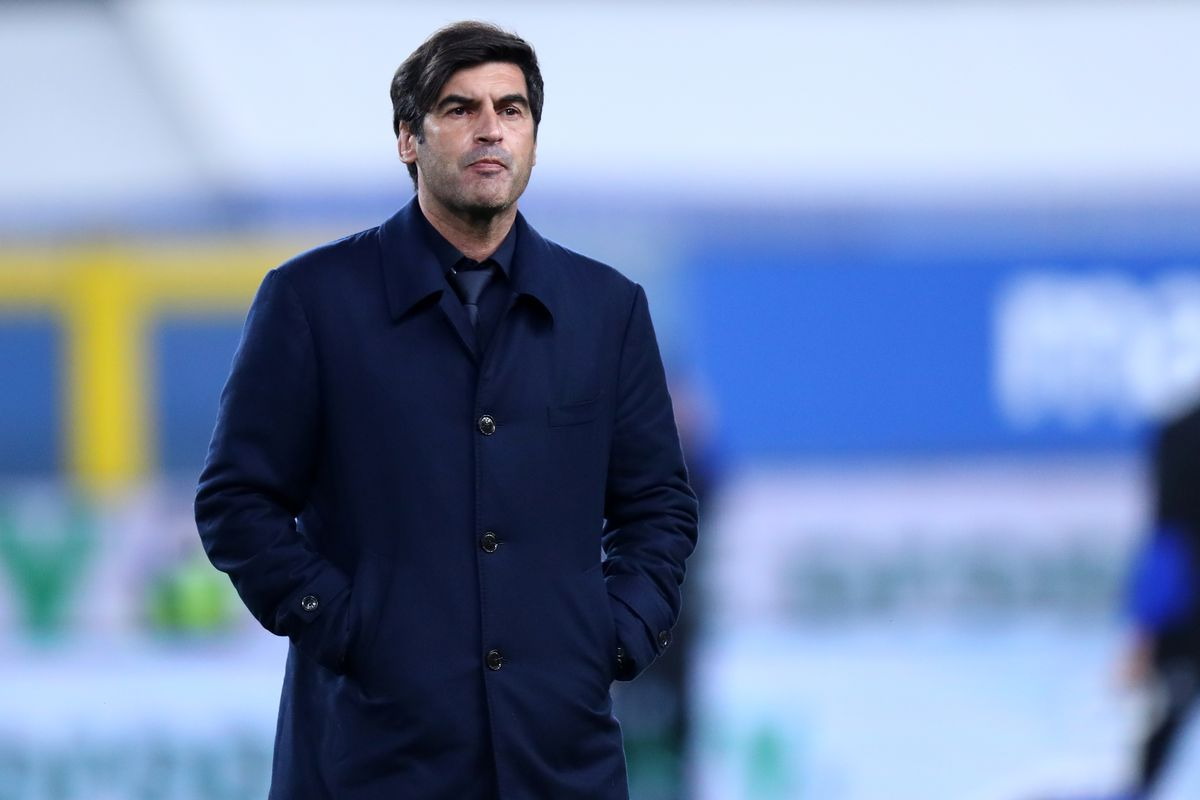 Paulo Fonseca, head coach of As Roma, looks on before the...