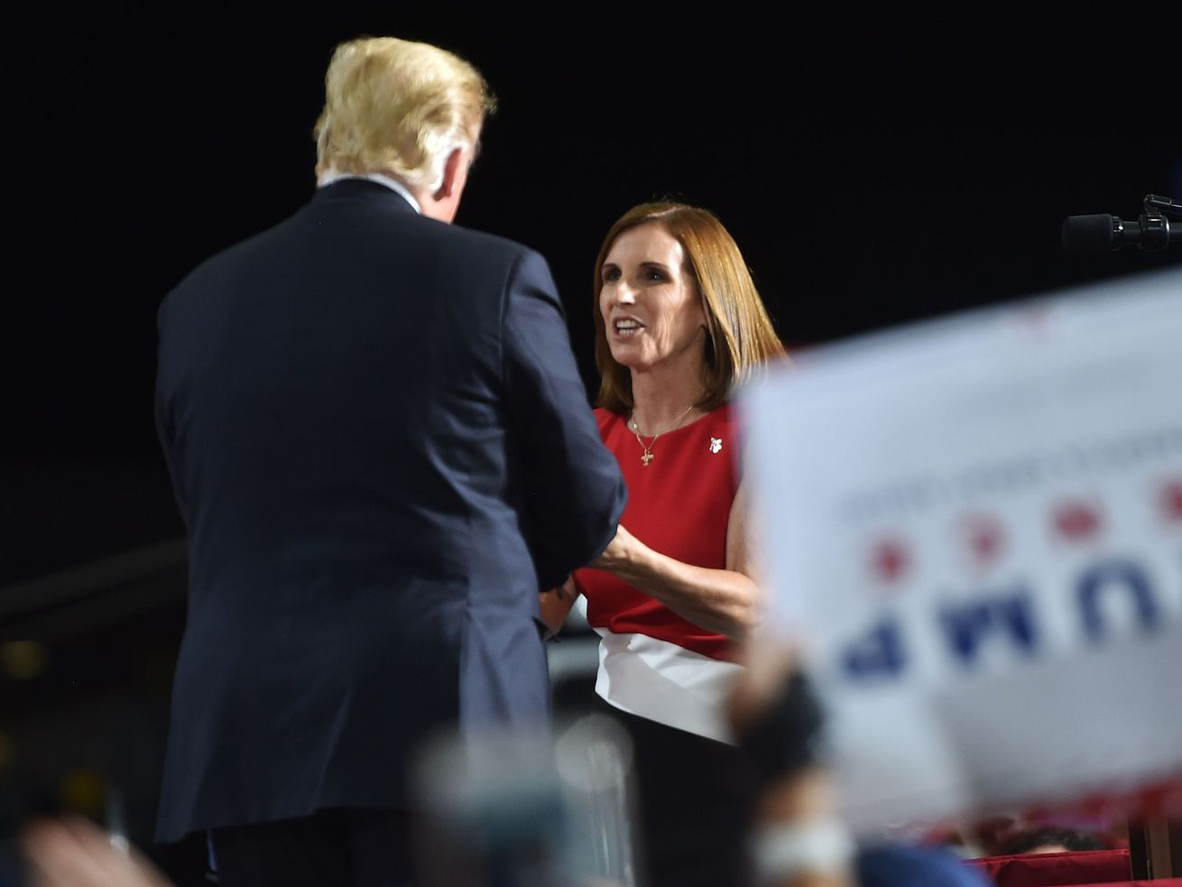 Martha McSally shaking hands with Trump at one of his rallies.
