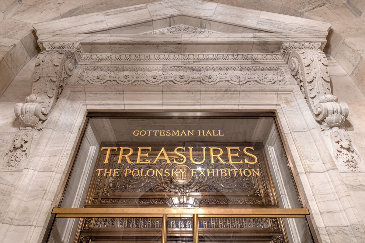 The entrance to the Treasures Exhibit at the New York Public Library's Gottesman Hall in the Stephen A. Schwarzman Building on 42nd Street in Manhattan.
