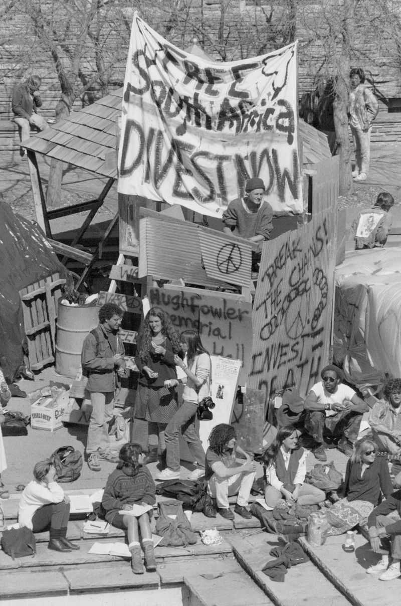 Anti-apartheid campaigners call for divestment from South Africa at protest at the University of Colorado Boulder on April 24, 1988.