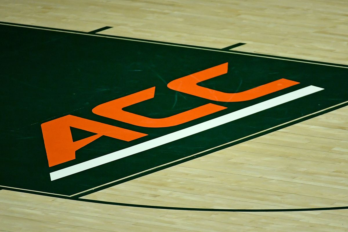 A general view of the ACC conference logo on the court prior to the game between the Miami Hurricanes and the North Florida Ospreys at Watsco Center.