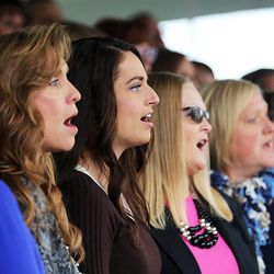 Members of the Montpellier Idaho South Stake Choir sing during the cornerstone ceremony of the Star Valley Wyoming Temple Dedication in Afton, Wyoming, on Sunday, Oct. 30, 2016.