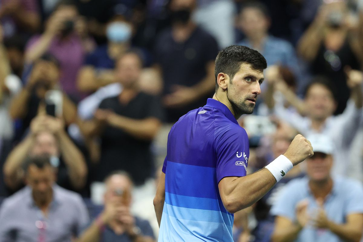 Novak Djokovic of Serbia celebrates defeating Matteo Berrettini of Italy during their Men's Singles quarterfinal match on Day Ten of the 2021 US Open at the USTA Billie Jean King National Tennis Center on September 08, 2021 in the Flushing neighborhood of the Queens borough of New York City.