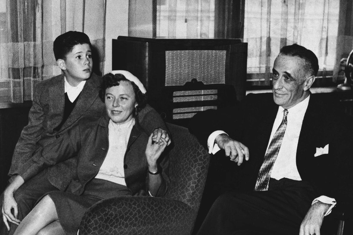 Martha Dodd Stern, seen here with her husband Alfred Stern (right) and their son Robert in Prague in 1957 after the couple was accused in the United States of spying for the Soviet Union.