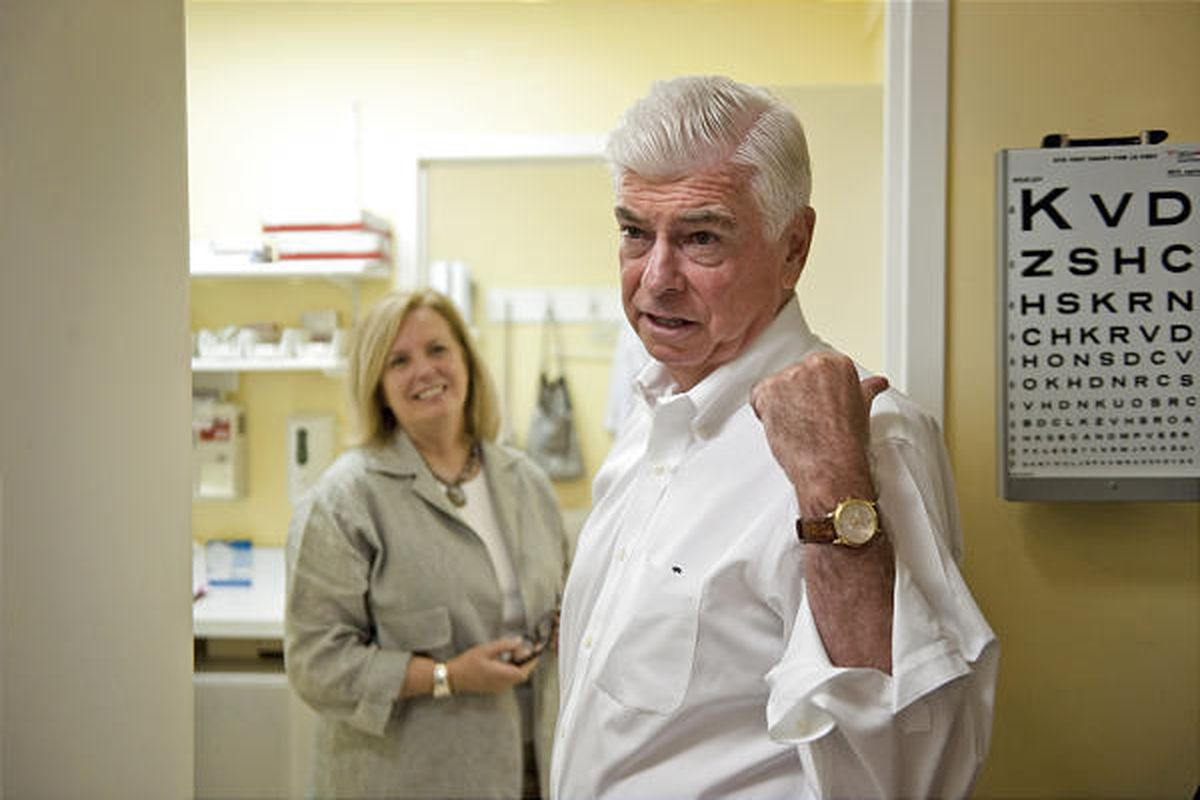 Sen. Christopher Dodd, shown touring a clinic in Norwalk, Conn., has prostate cancer.