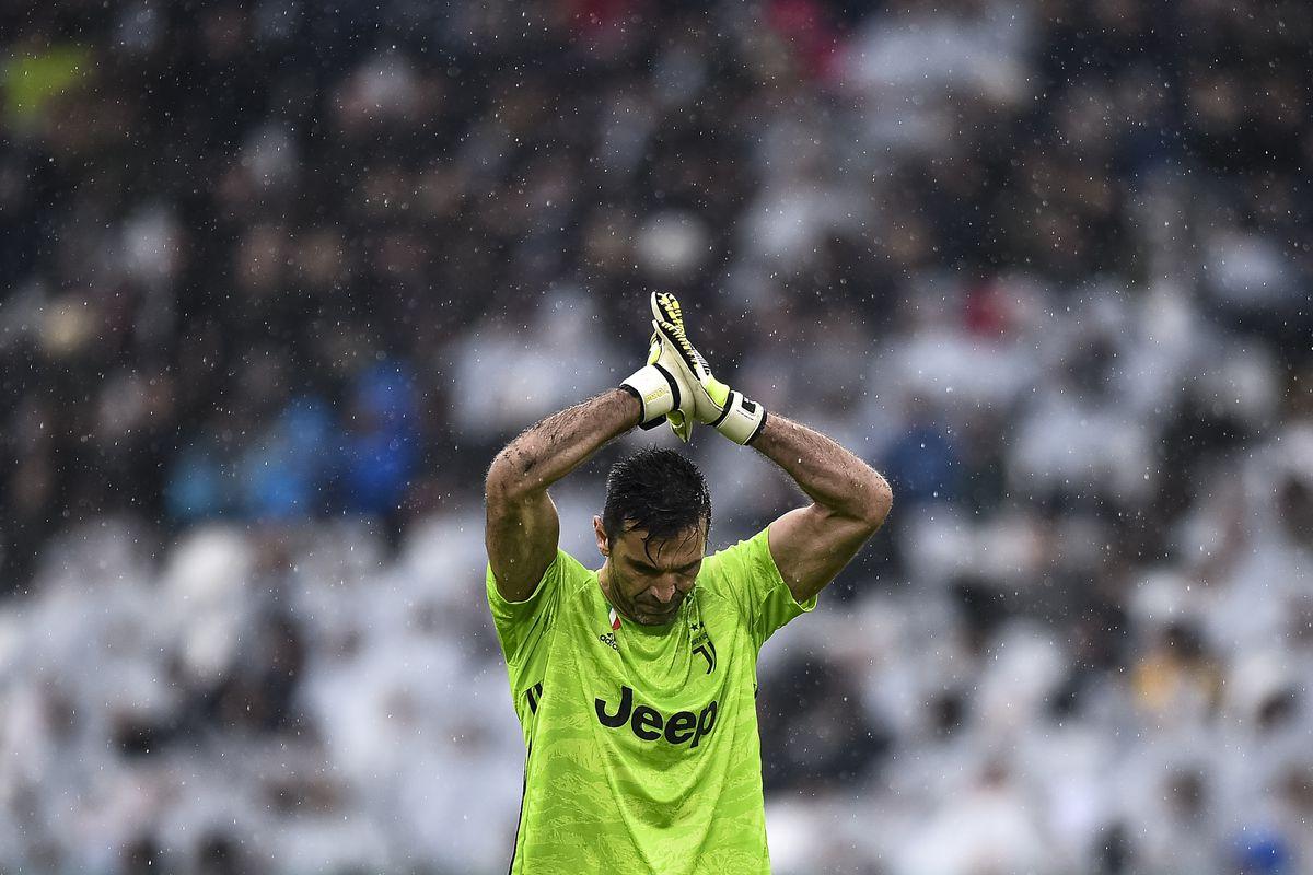 Gianluigi Buffon of Juventus FC reacts during the Serie A...
