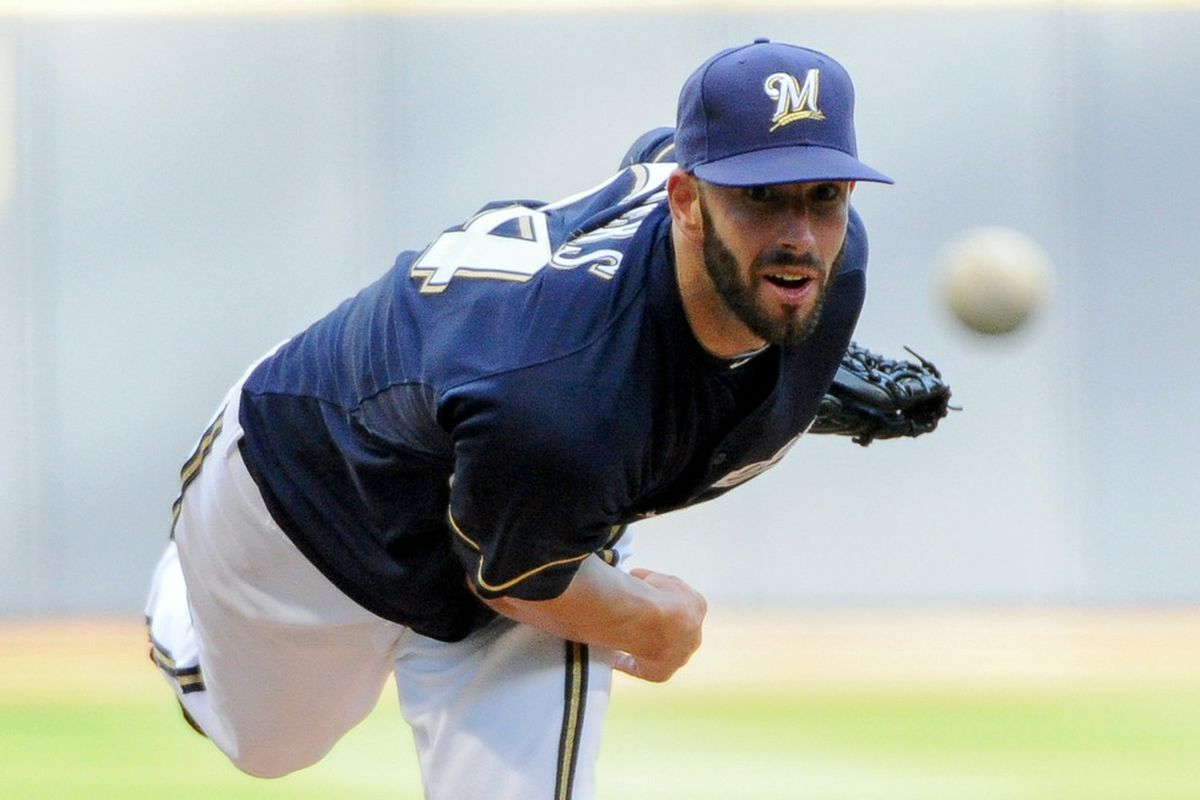June 30, 2012; Milwaukee, WI, USA;  Milwaukee Brewers pitcher Michael Fiers (64) pitches against the Arizona Diamondbacks in the first inning at Miller Park.  Mandatory Credit: Benny Sieu-US PRESSWIRE