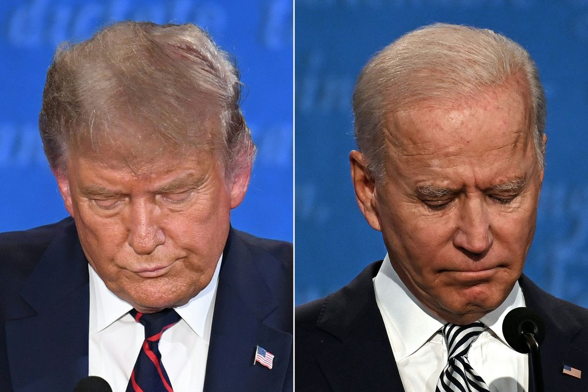 Headshots of President Trump and former Vice President Joe Biden during the first presidential debate.