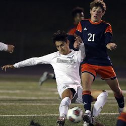 Ridgeline plays Mountain Crest in the 4A boys soccer semifinals at Jordan High School in Sandy on Monday, May 17, 2021. Ridgeline won 1-0.