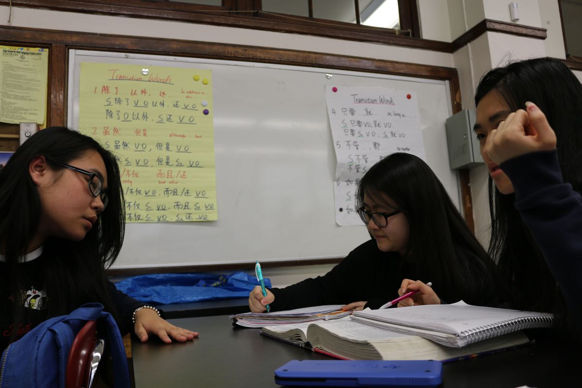 Students in AP Chemistry at High School for Dual Language and Asian Studies are taught in English and Mandarin.