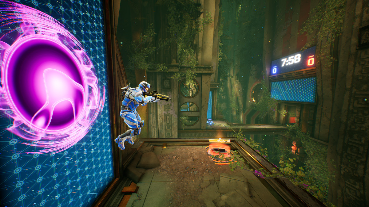 A Splitgate player jumping out of a portal