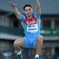 Aleksandr Menkov wins the long jump at the 39th Prefontaine Classic.