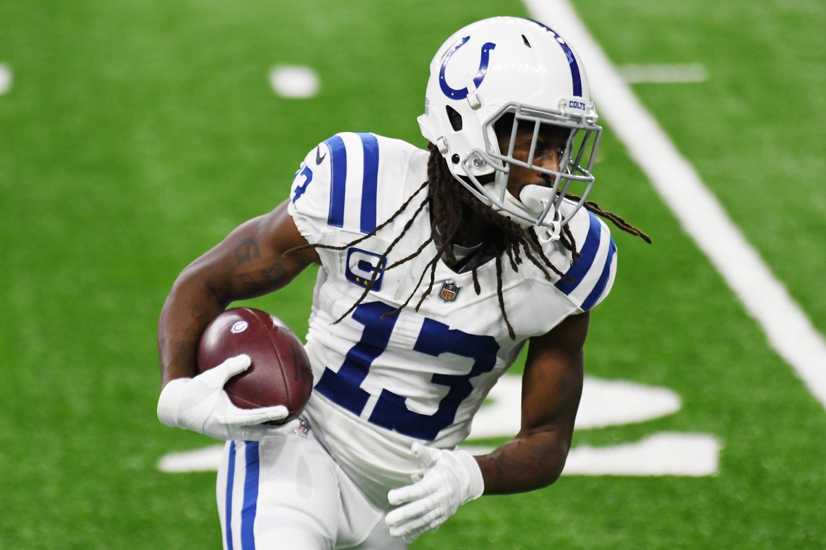 T.Y. Hilton #13 of the Indianapolis Colts warms up prior to the game against the Detroit Lions at Ford Field on November 01, 2020 in Detroit, Michigan.