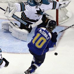 St. Louis Blues' Andy McDonald (10) is hit with the puck as San Jose Sharks goalie Antti Niemi, of Finland, defends during the first period in Game 2 of an NHL Stanley Cup first-round hockey playoff series Saturday, April 14, 2012, in St. Louis.