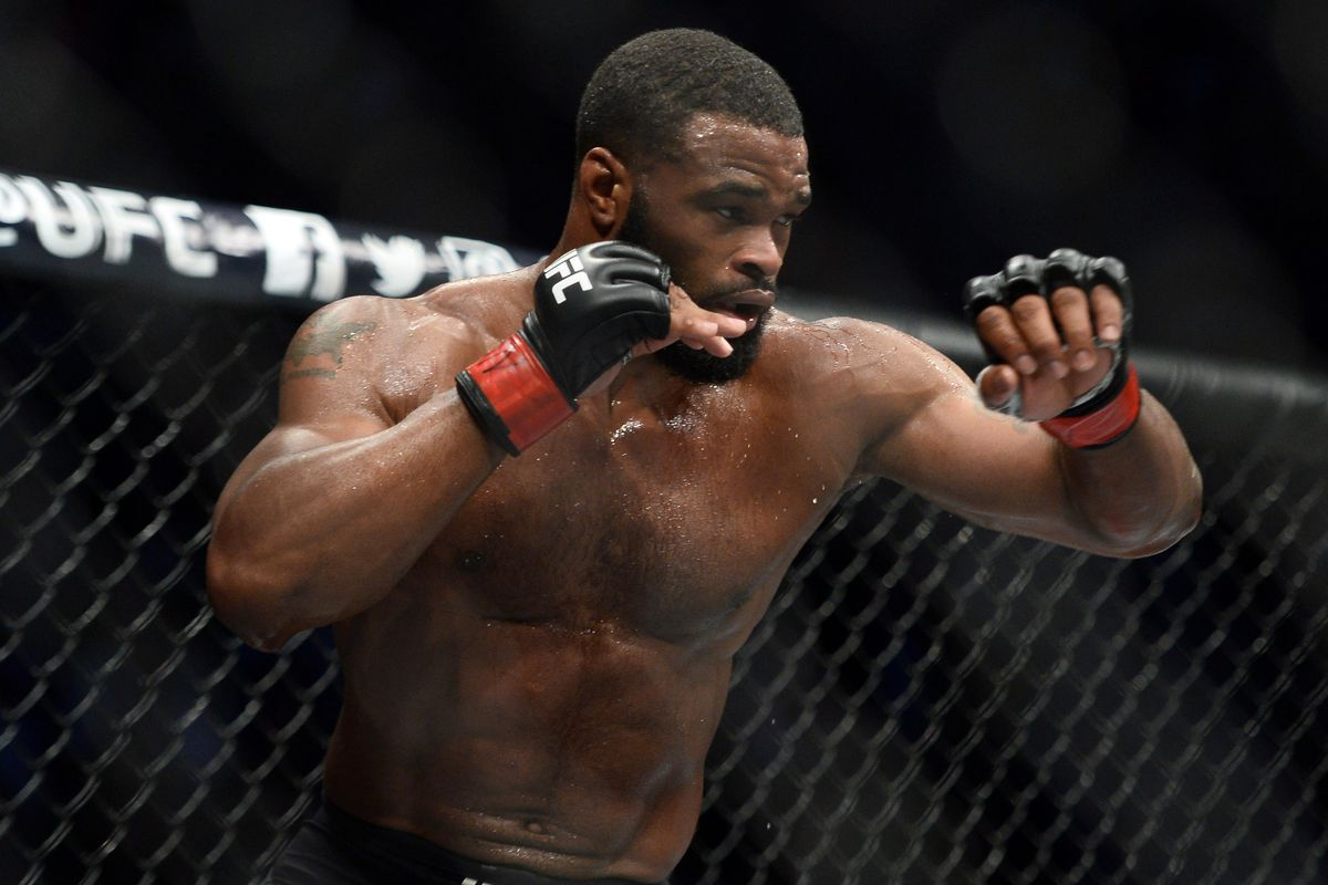 Tyron Woodley in a fight during UFC 209