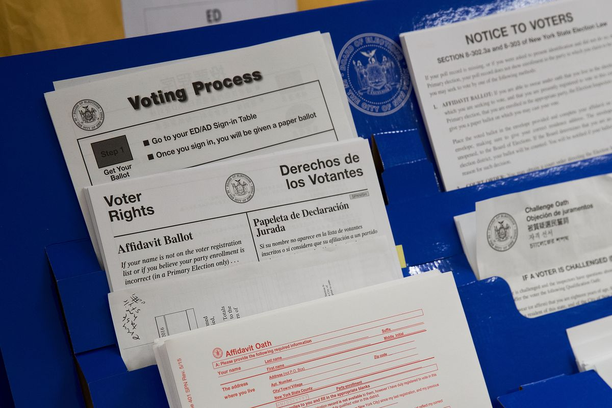 Polling station supplies on display at a Board of Elections warehouse.