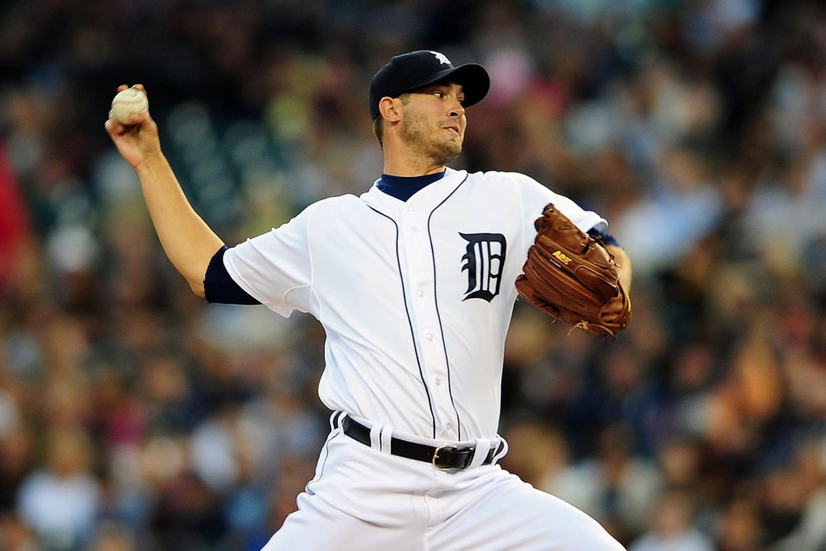 May 16, 2012; Detroit, MI, USA; Detroit Tigers starting pitcher Rick Porcello (48) pitches in the fourth inning against the Minnesota Twins at Comerica Park. Mandatory Credit: Andrew Weber-US PRESSWIRE