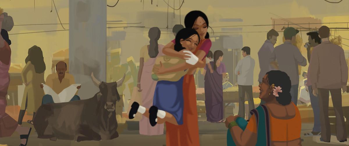 Kamala hugs her little sister Tara in a street scene in Bombay Rose