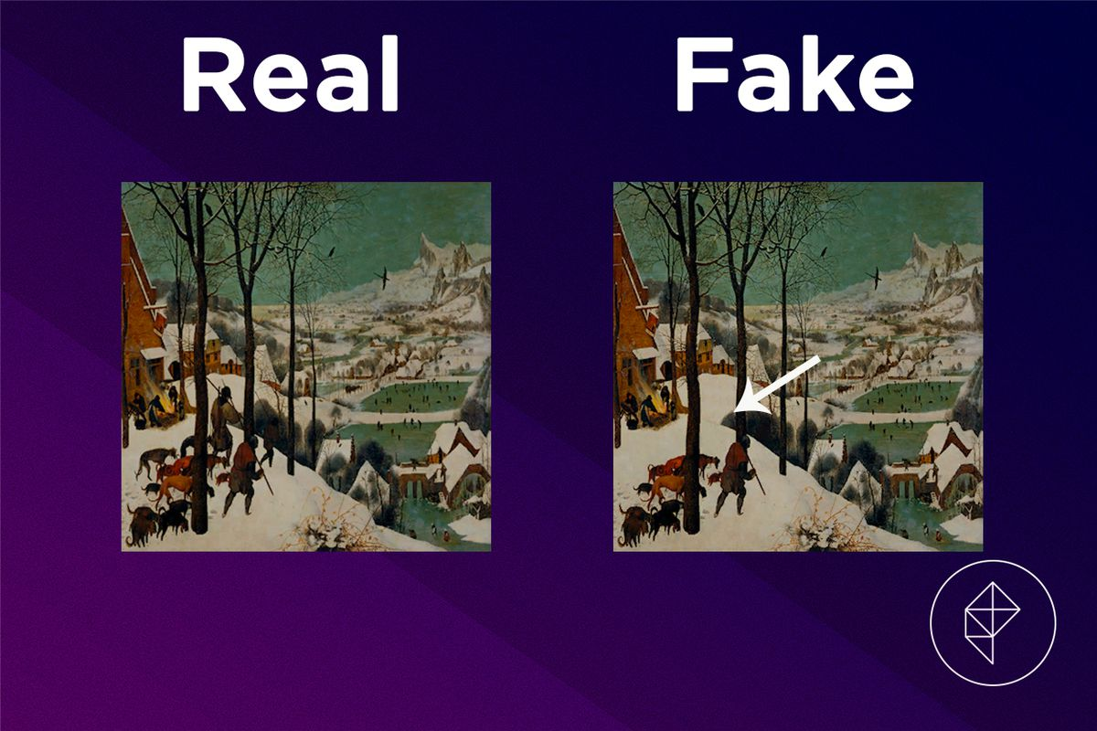 A comparison showing that the fake version of the Scenic Painting is missing people