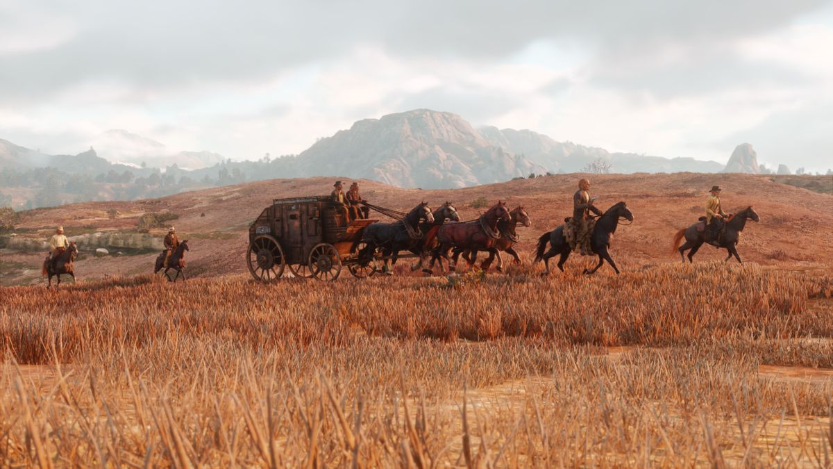 Red Dead Redemption 2 - stagecoach riding across the plains