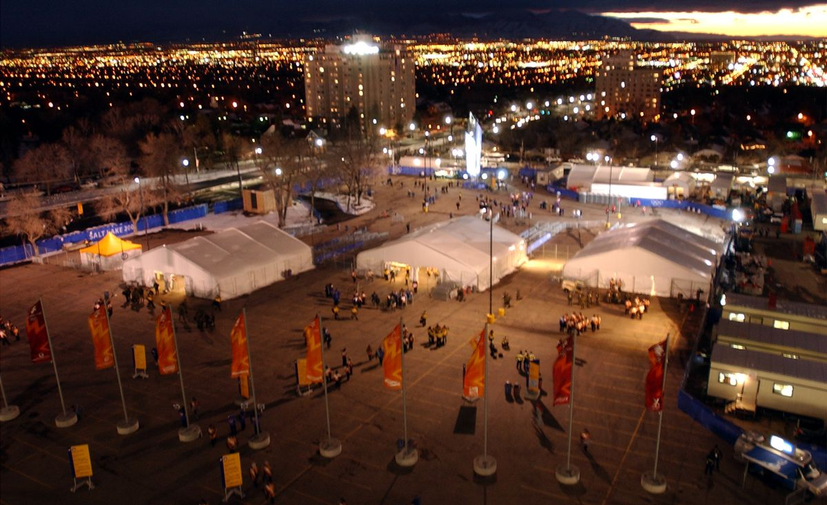 Spectators enter through the security check points set up outside Rice Eccles Stadium for the Opening Ceremonies of the Salt Lake 2002 Winter Olympic Games.