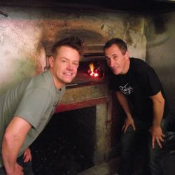 Host Chef Richard Blais and owner of Patsy's Pizzeria in East Harlem, Frank Brija, standing in front of Patsy's famous coal fired oven.