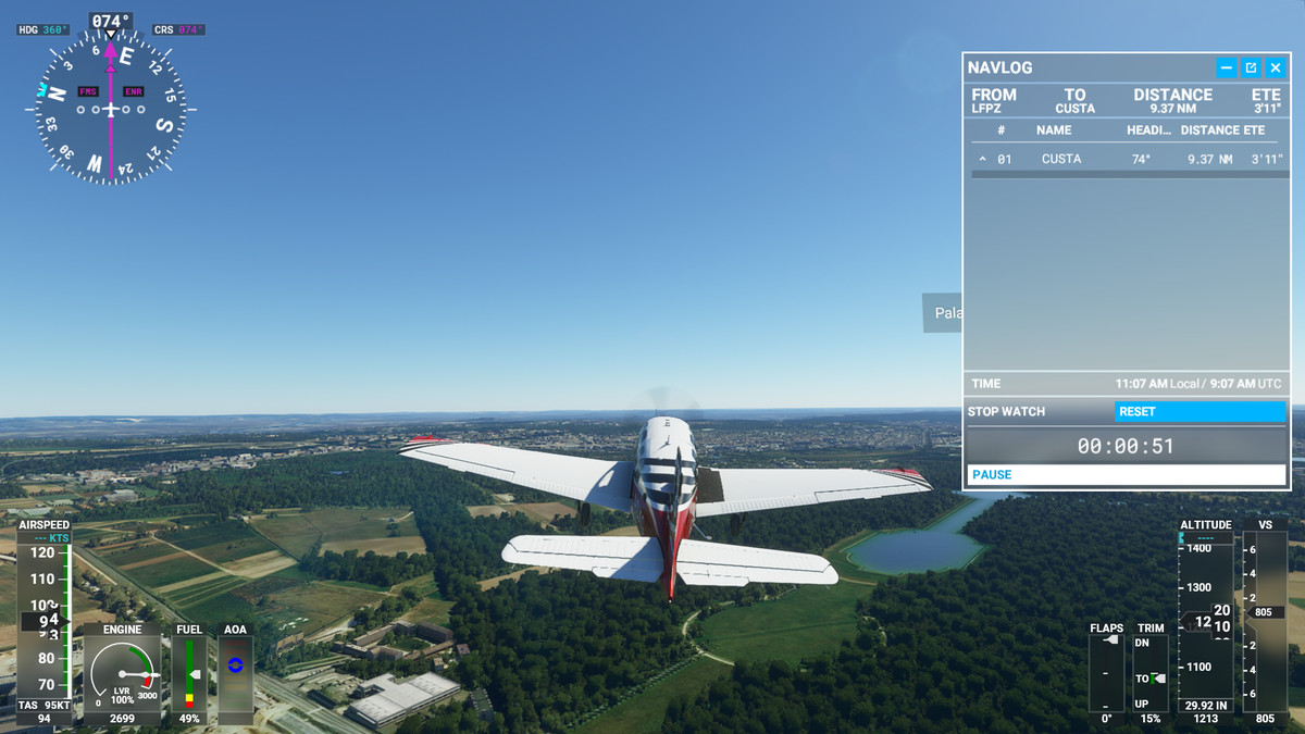 Flying in Microsoft Flight Simulator