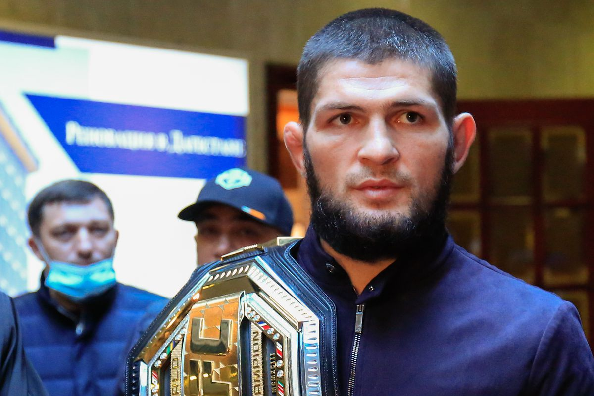 Russian mixed martial artist and UFC champion Khabib Nurmagomedov arrives in Makhachkala after fight with Justin Gaethje