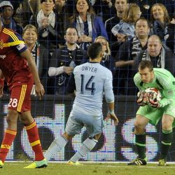 Real Salt Lake's Jeff Attinella makes a save during a game at Sporting Park in Kansas City, Kan., on Saturday, April 5, 2014.