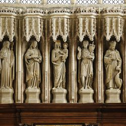 Statues at Christ Church Cathedral, Oxford University, England, on June 14, 2017.