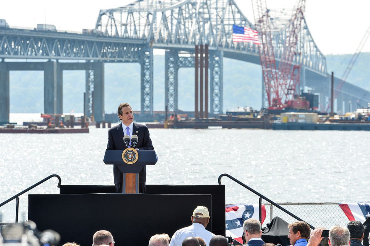 Governor Cuomo speaking about road and bridge construction last week