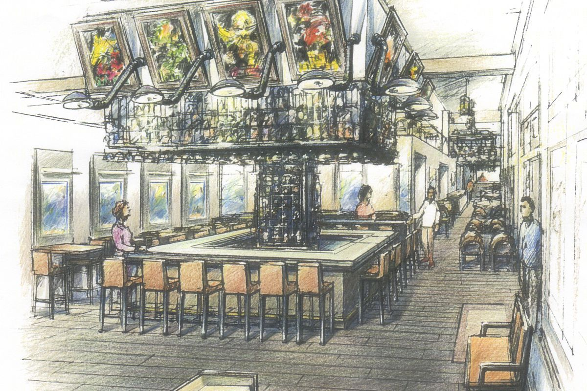 A rendering of Brasserie du Parc, coming this Fall to Downtown