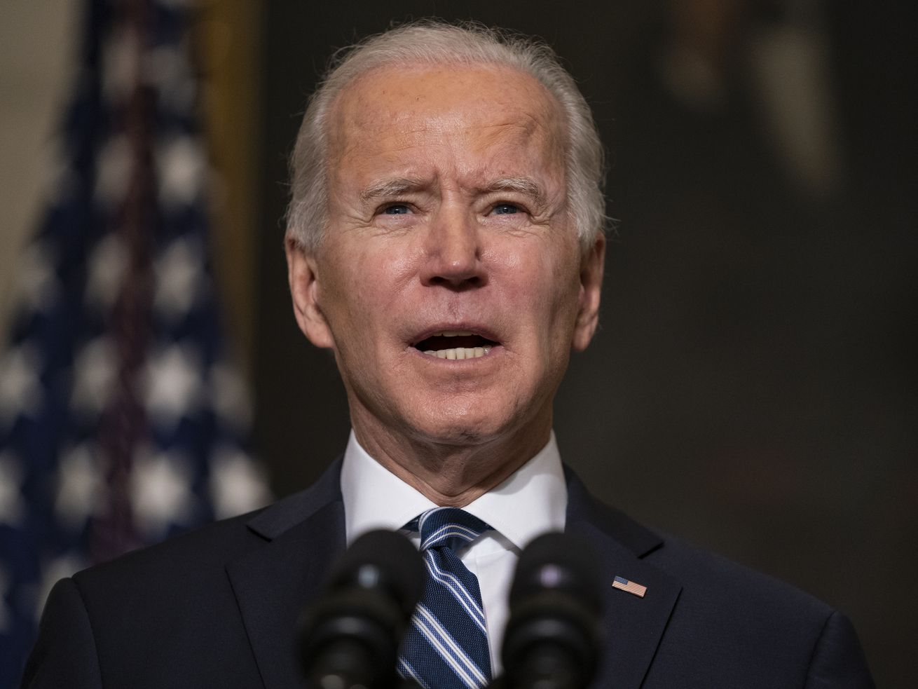 In this Jan. 27, 2021, file photo President Joe Biden delivers remarks on climate change and green jobs, in the State Dining Room of the White House in Washington.