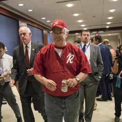 Rep. Joe Barton, R-Texas, with Rep. Pat Meehan, R-Pa., left, arrives on Capitol Hill in Washington, Wednesday, June 14, 2017, for a security briefing after a gunman opened fire at a congressional baseball practice wounding House Majority Whip Steve Scalise of La., and others, in Alexandria, Va.