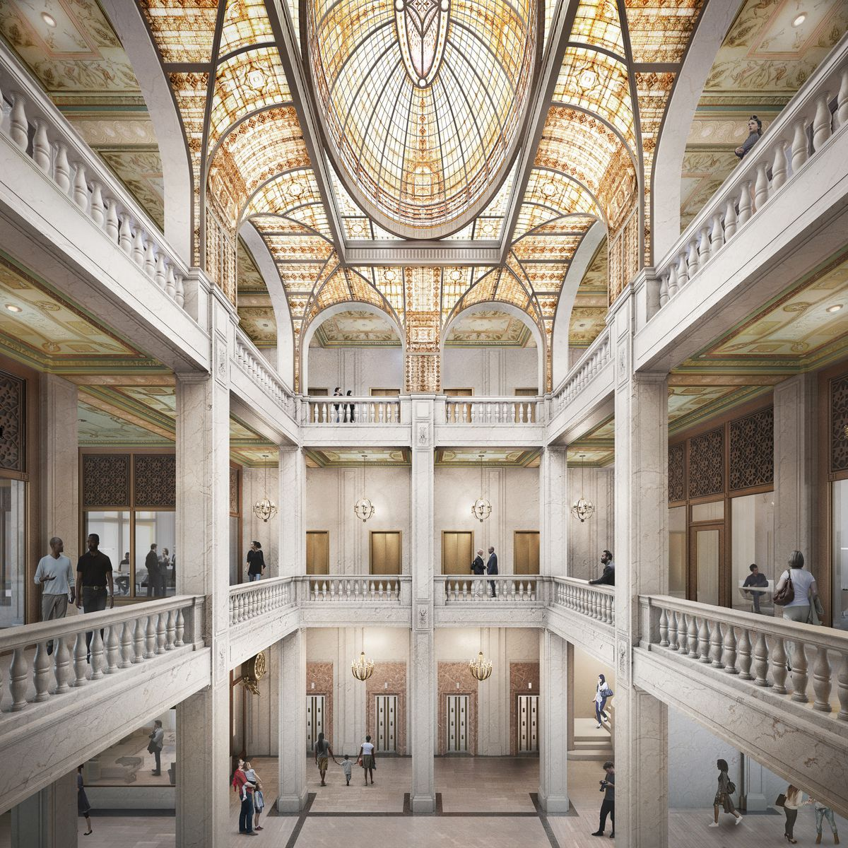 The three-story lobby has a big open space in the middle with gold front doors and a shimmering, curved skylight. People mingle on the ground floor and around the railings on the upper floors.