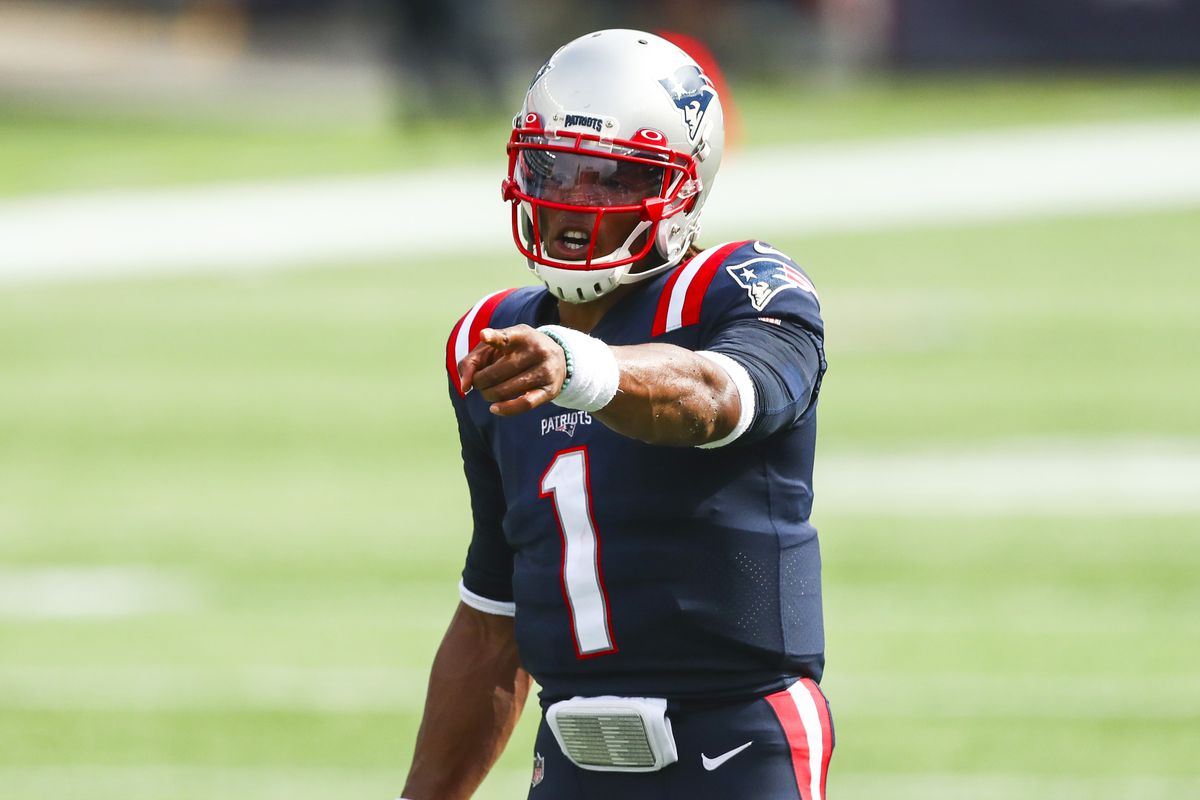 Cam Newton #1 of the New England Patriots gestures during a game against the Las Vegas Raiders at Gillette Stadium on September 27, 2020 in Foxborough, Massachusetts.