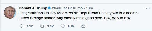Screen grab of Trump's original tweet.