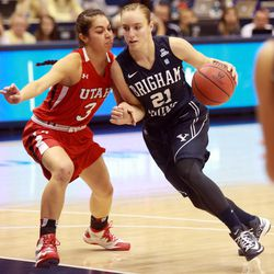 BYU's Lexi Eaton dribbles around Utah's Malia Nawahine during a women's basketball game at the Marriott Center in Provo on Saturday, Dec. 14, 2013. Utah won in double overtime 82-74.