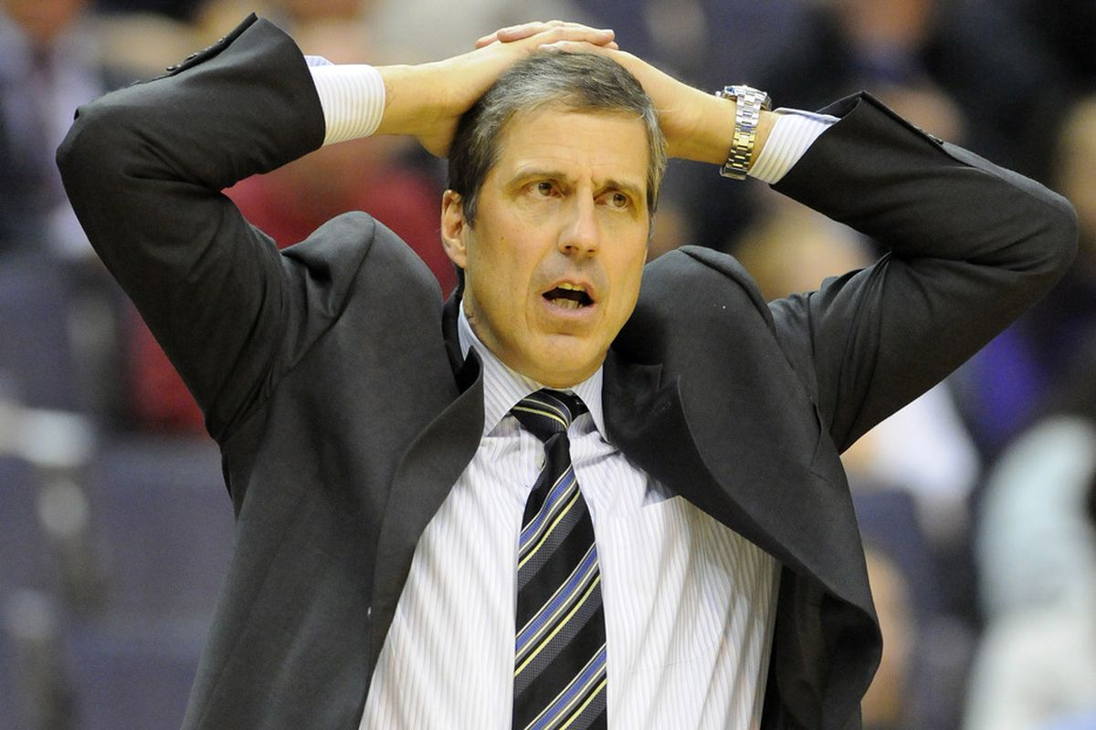 Apr 23, 2012; Washington, DC, USA; Washington Wizards head coach Randy Wittman reacts during the game against the Charlotte Bobcats at the Verizon Center. The Wizards defeated the Bobcats 101 - 73. Mandatory Credit: Brad Mills-US PRESSWIRE