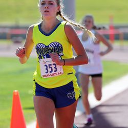 Brooke Reed of Parowan places second in the 2A girls high school state cross-country championships in Cedar City on Wednesday, Oct. 21, 2020.