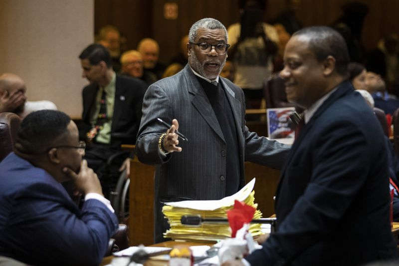 Ald. Walter Burnett Jr. (27th) yells during the monthly Chicago City Council meeting, where aldermen were scheduled to vote on attempt by the Black Caucus to delay sales of recreational marijuana in Chicago for six months to give African American and Hispanic people a chance to get a piece of the action, at City Hall, Wednesday, Dec. 18, 2019.