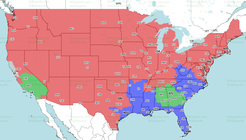 Nfl Us Map.Nfl Week 14 Broadcast Map Rams Popular Choice For Much Of Us Tv