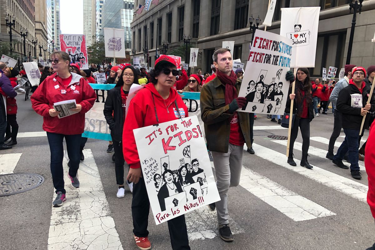 Protesters rallied downtown on Oct. 17, 2019, the first day of the strike by teachers and support staff against Chicago Public Schools.
