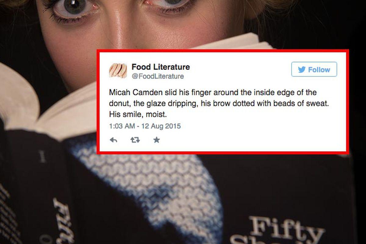 The @FoodLiterature Twitter account gets randy [Photo: Ian Gavan/Getty Images; Tweet by @FoodLiterature